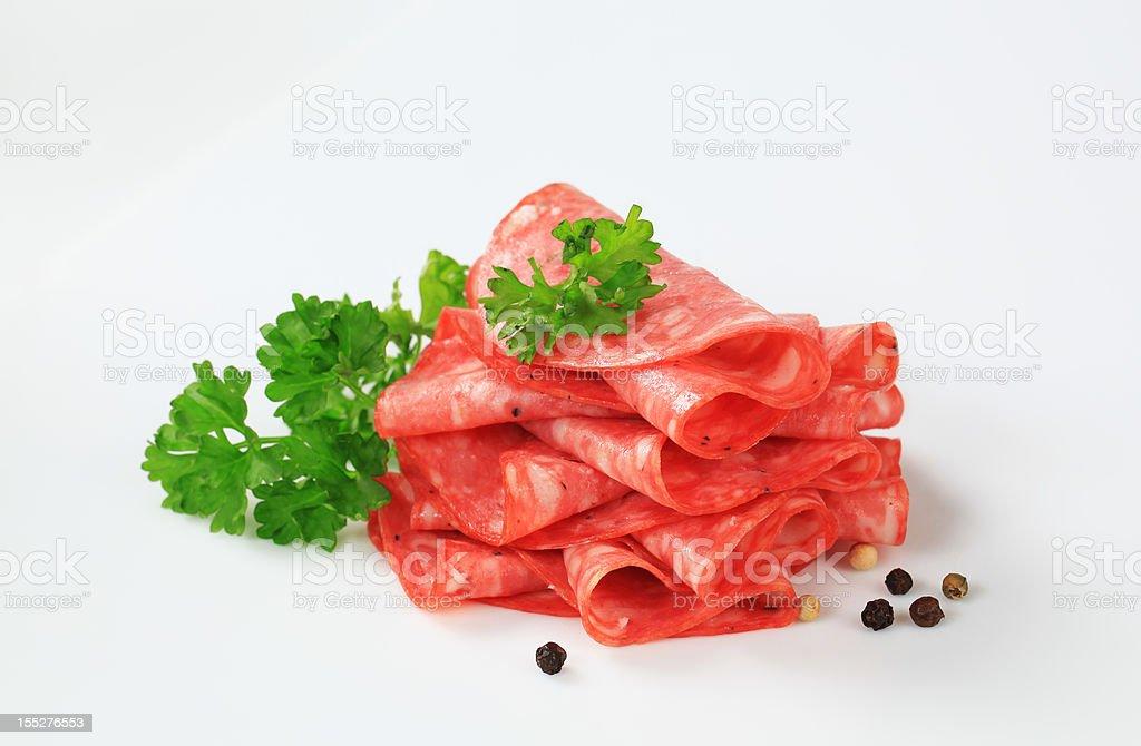 Heap of Italian salami royalty-free stock photo