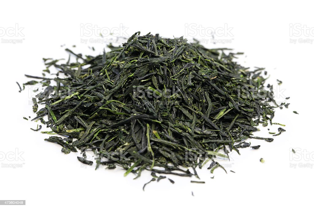 heap of japanese green tea stock photo