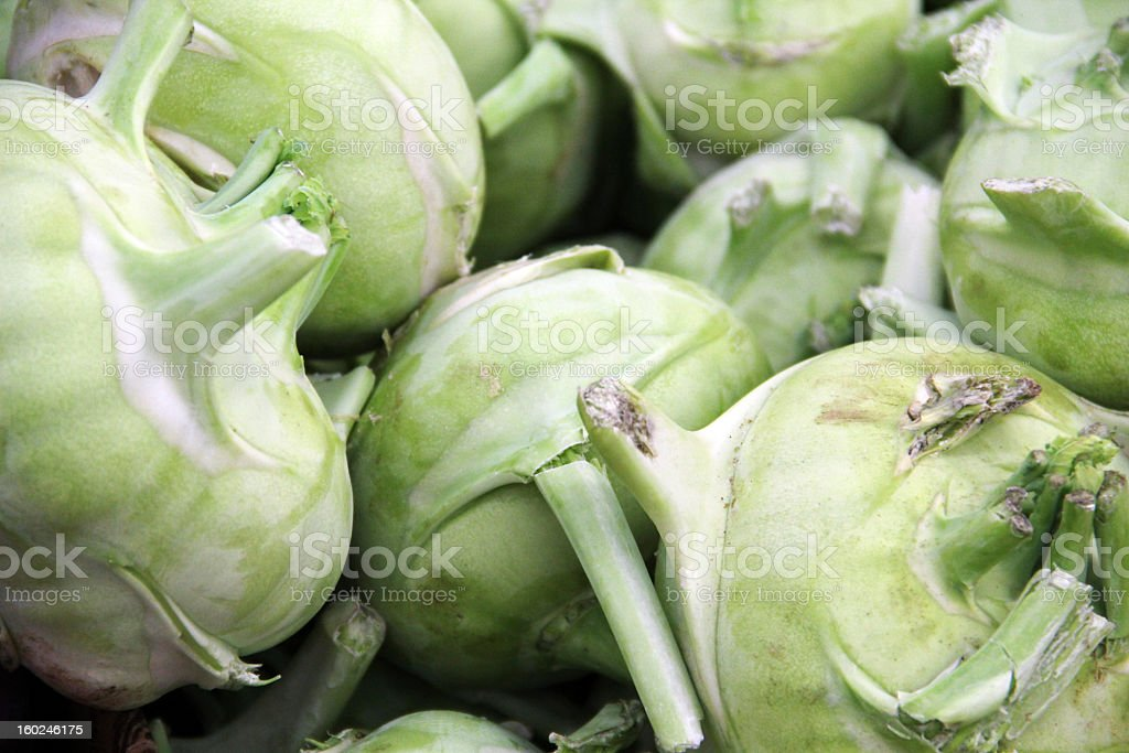 Heap of Kohlrabi with Leaves Removed stock photo
