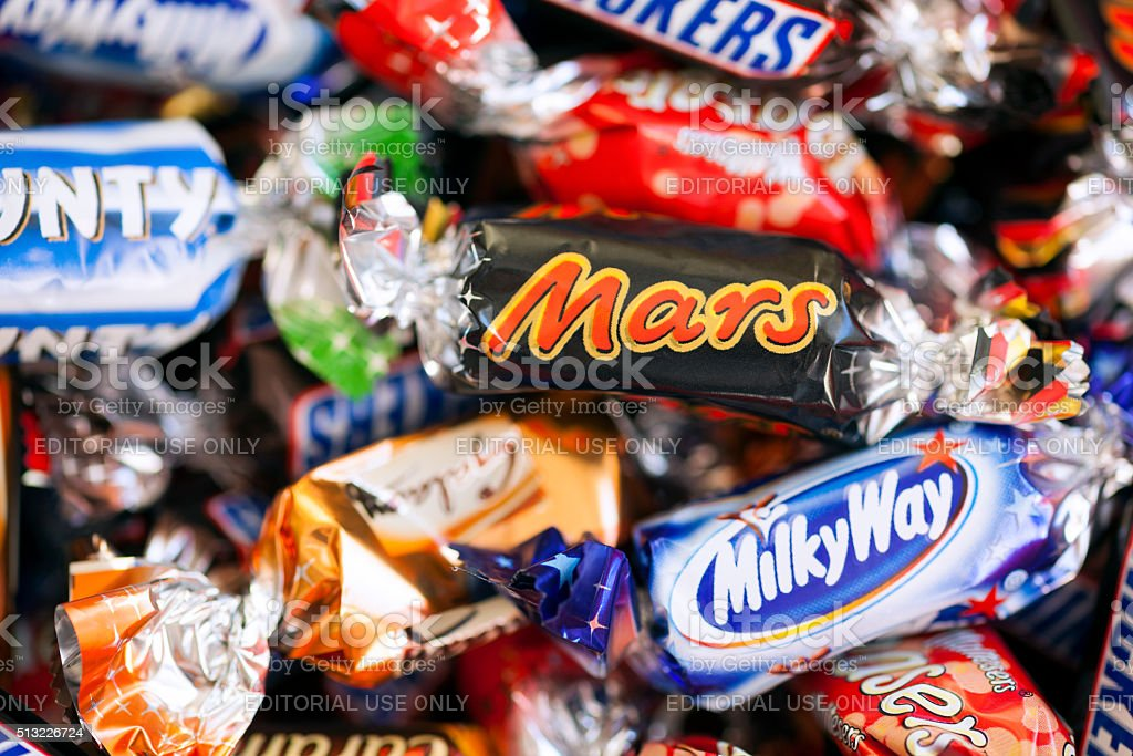Heap of Mars Incorporated candies stock photo