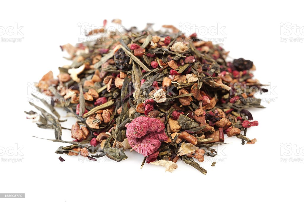 Heap of mixed berries herbal tea stock photo