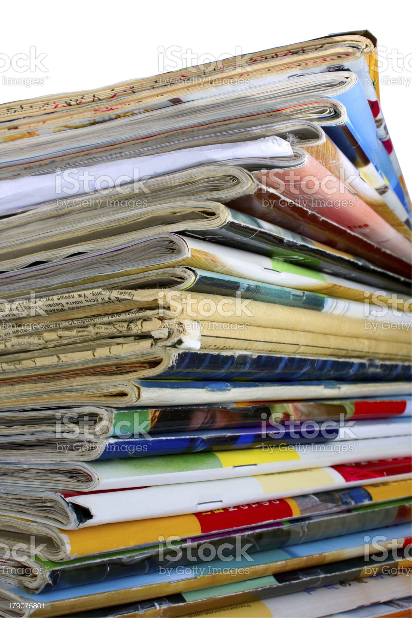Heap of multi-coloured old magazines royalty-free stock photo
