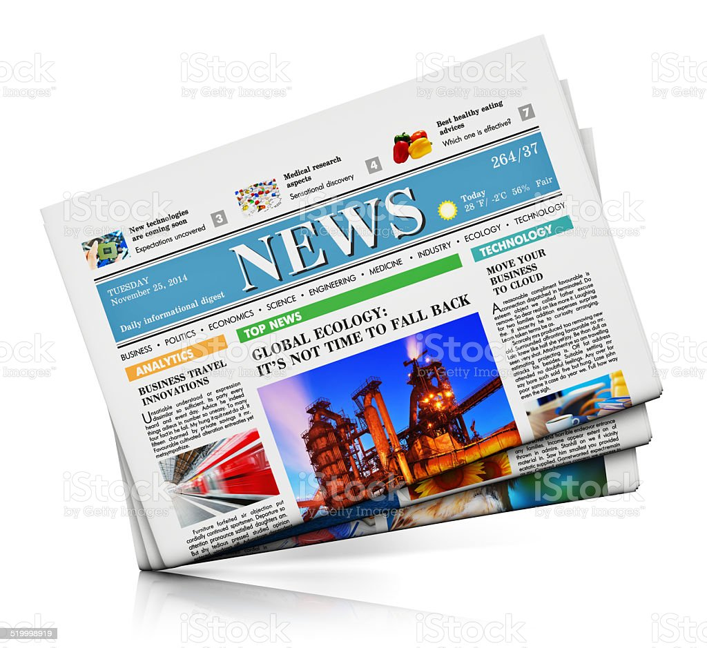 Heap of newspapers stock photo