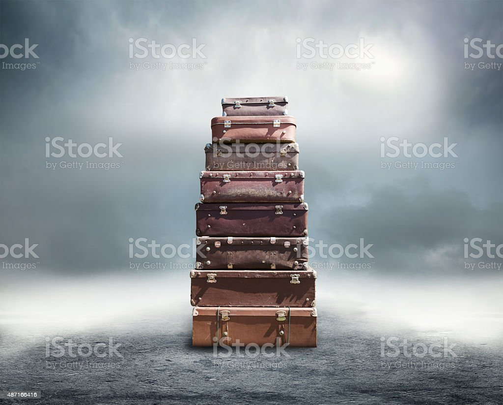 Heap of old suitcases stock photo