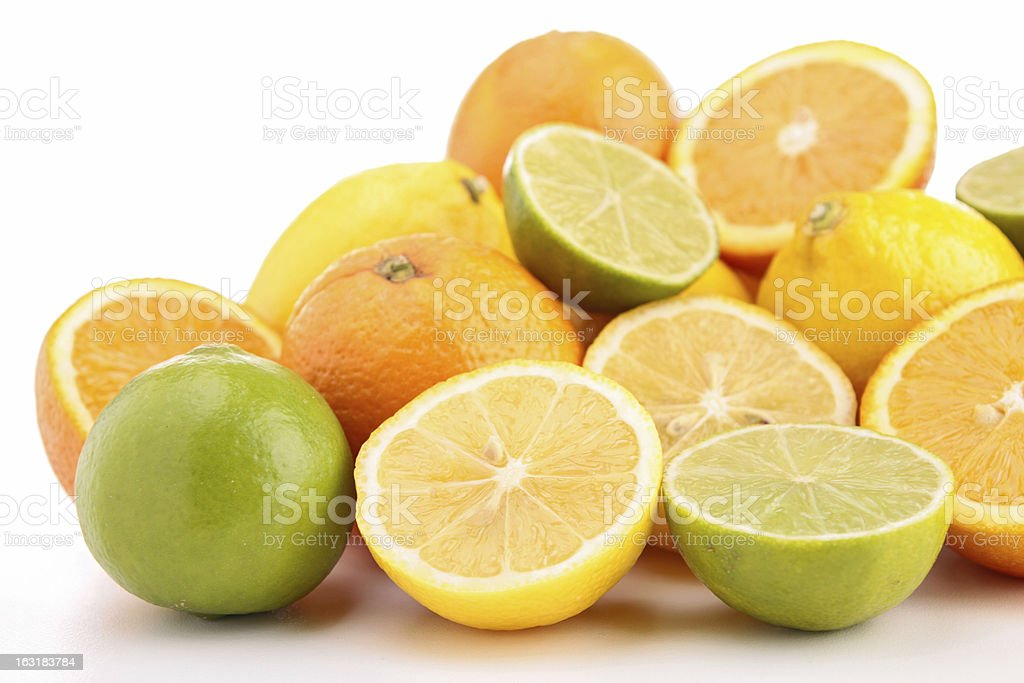 heap of orange, green and yellow lemon royalty-free stock photo