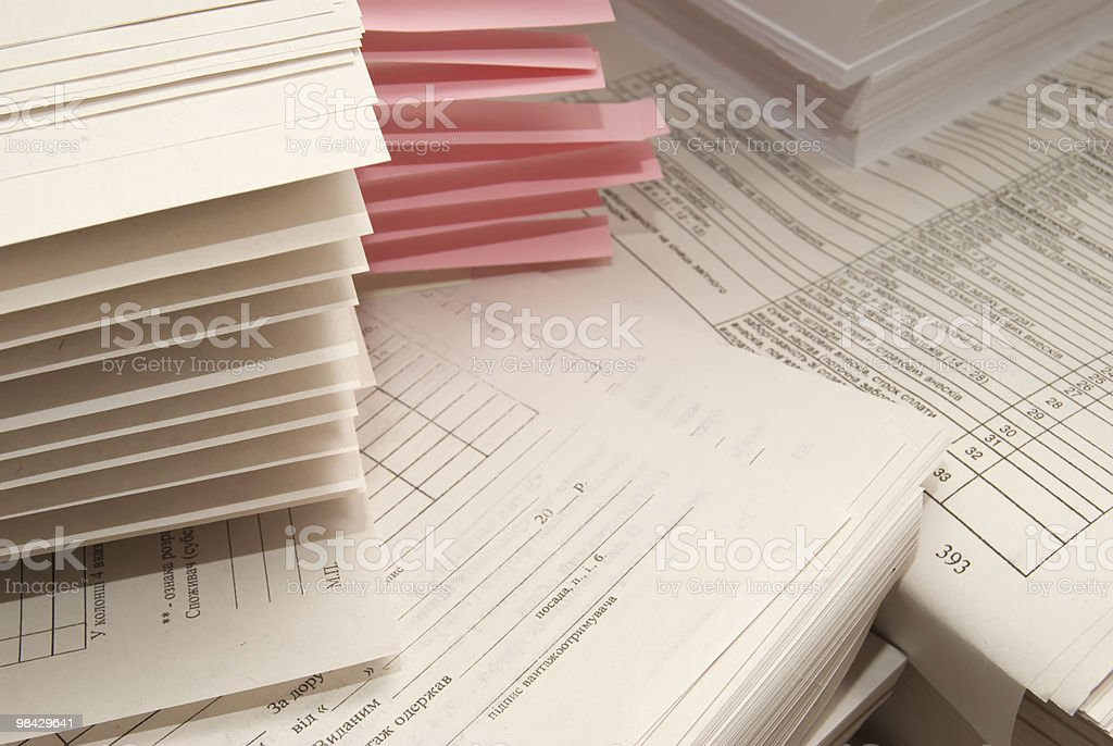 heap of paper forms stock photo