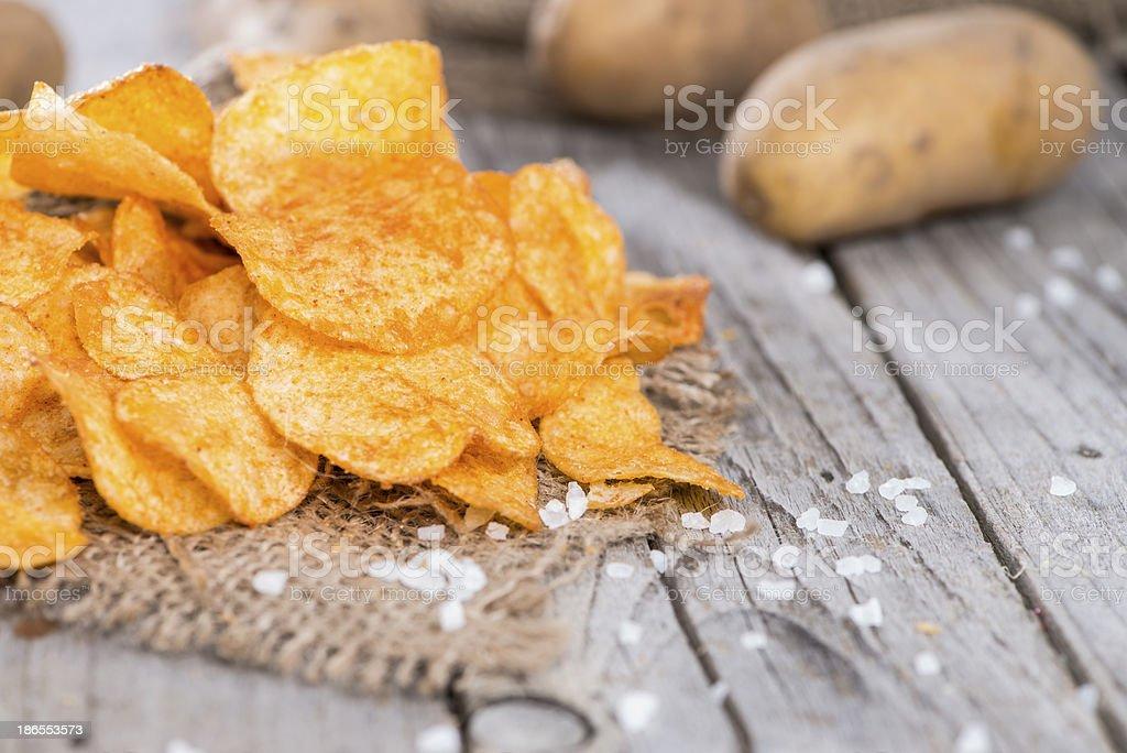 Heap of Paprika Potato Chips stock photo