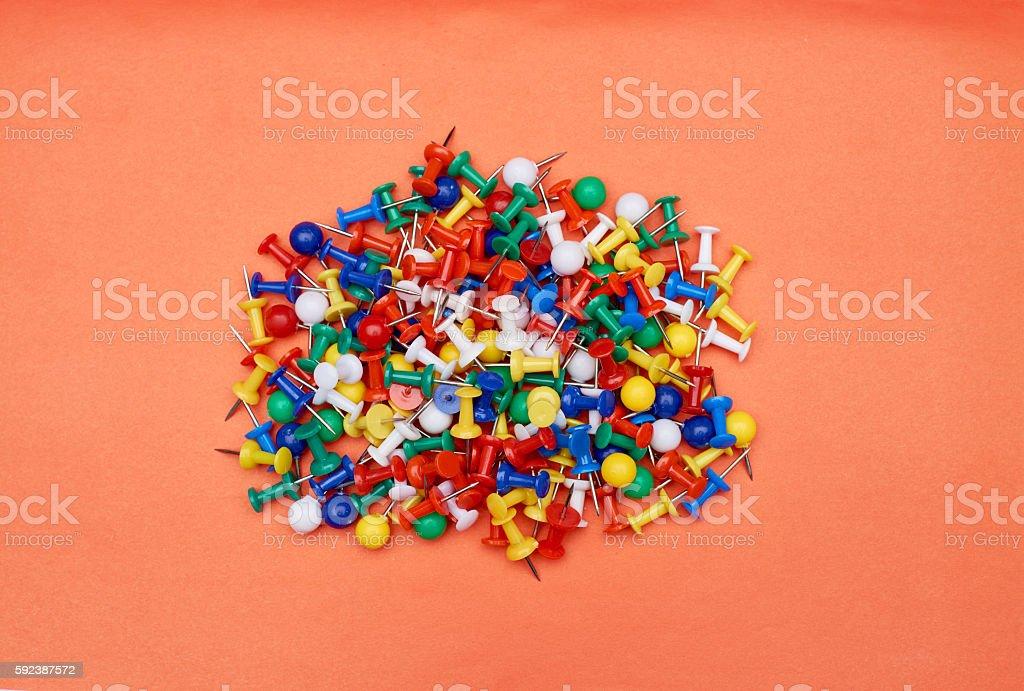 Heap of push pins stock photo