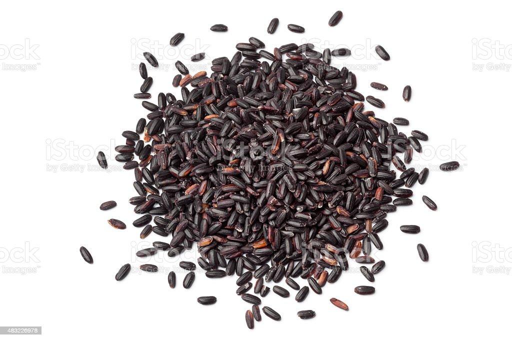 Heap of raw black venere rice stock photo