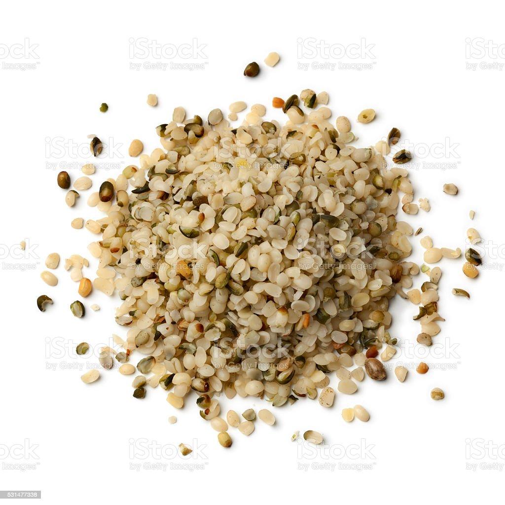 Heap of raw hemp seeds stock photo