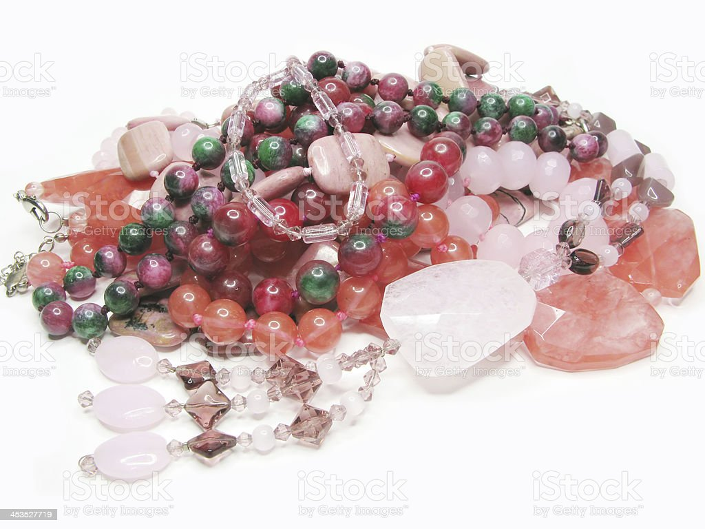 heap of red and pink colored beads royalty-free stock photo