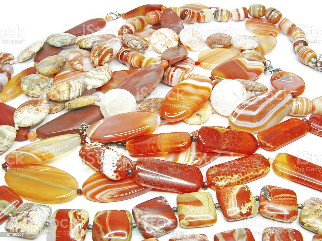 heap of red semigem beads royalty-free stock photo