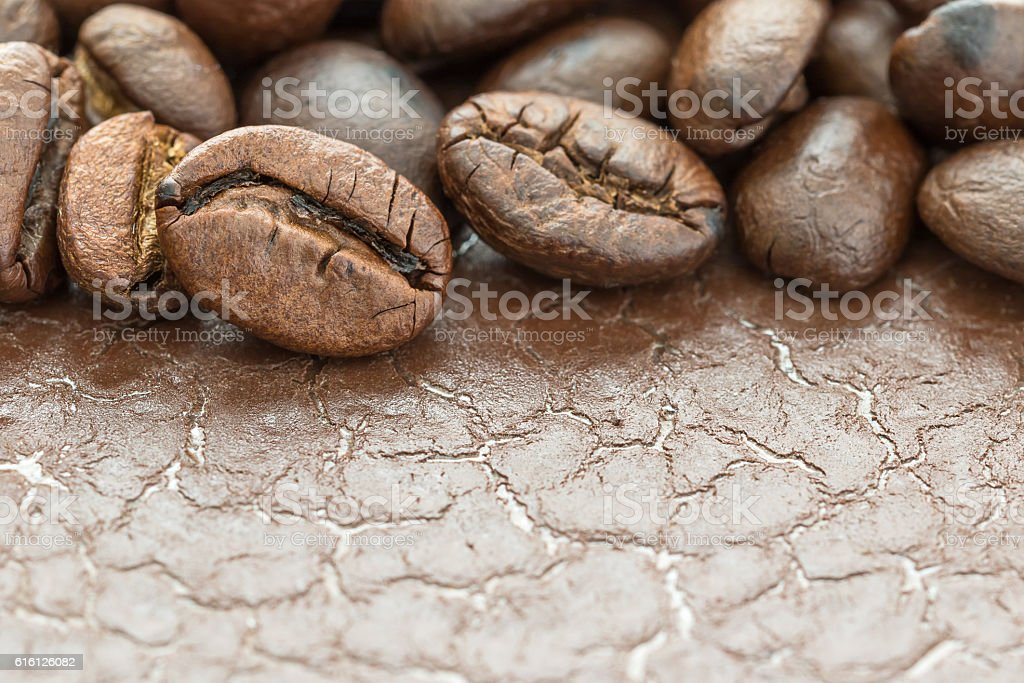 Heap of roasted brown coffee bean stock photo