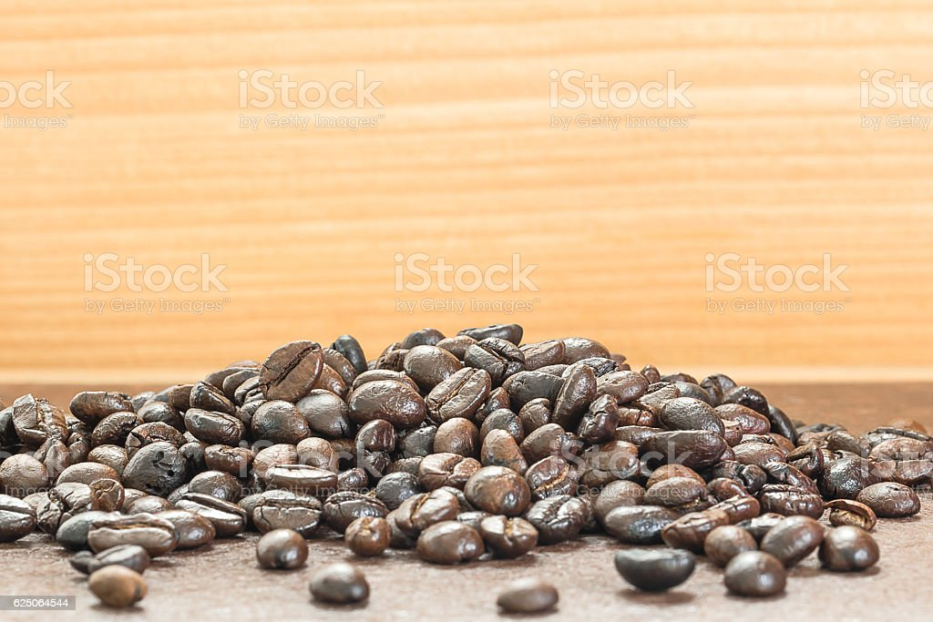 Heap of roasted coffee bean stock photo