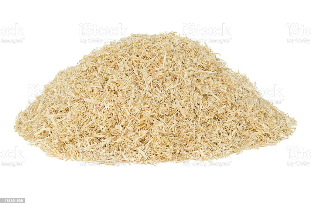 Heap of sawdust isolated on white stock photo