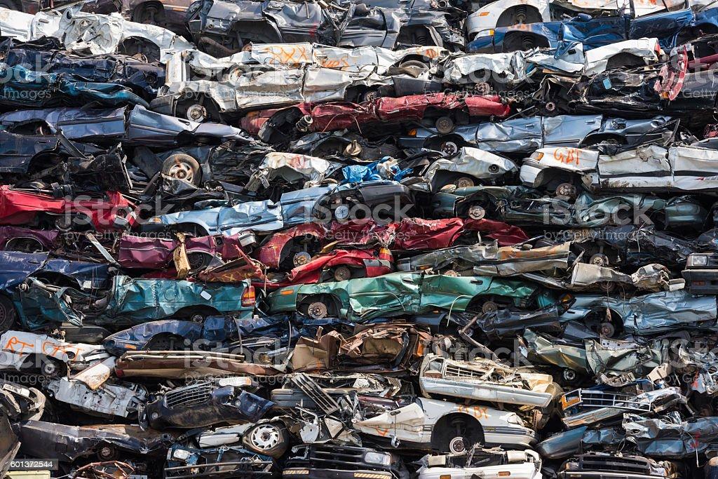 Heap of scrap cars stock photo