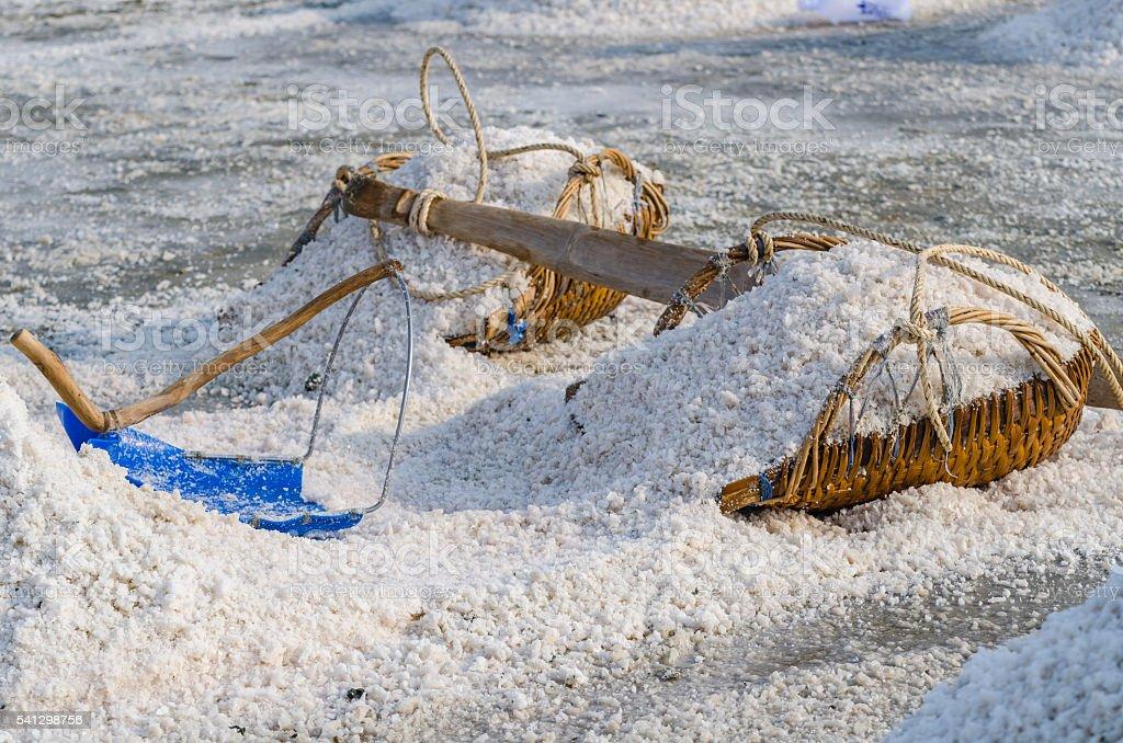 Heap of sea salt on the hod. Selective Focus. stock photo