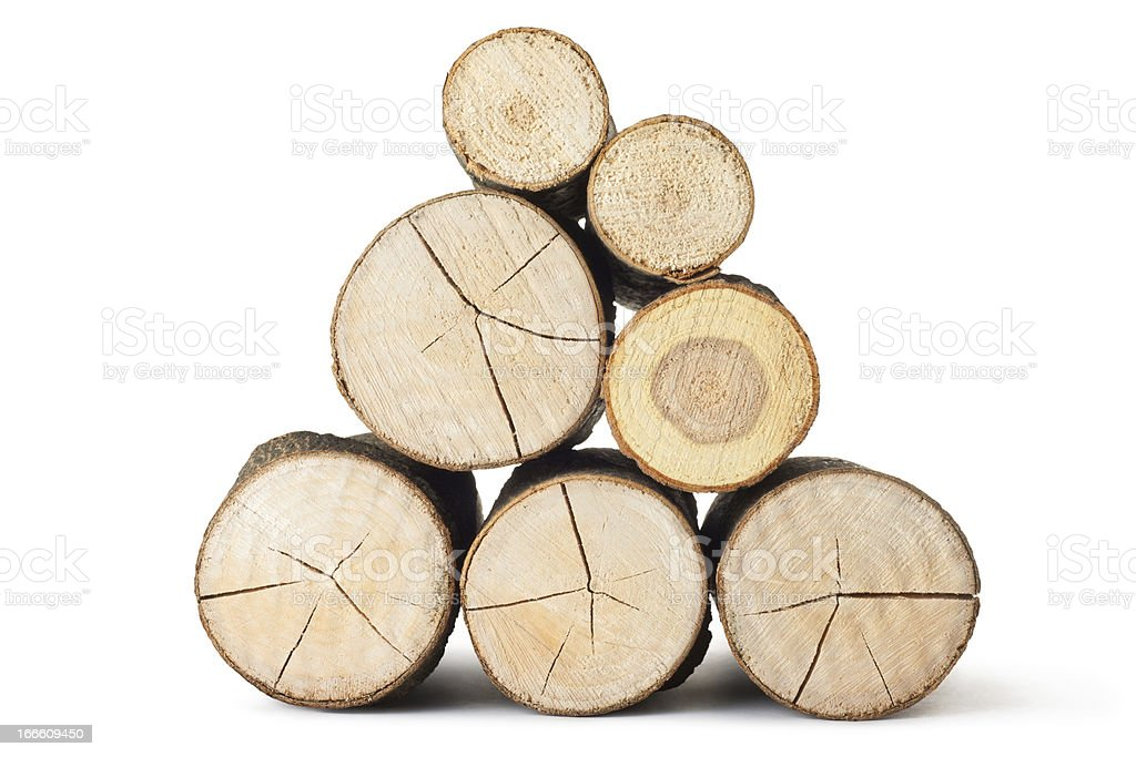 Heap of several logs. View at saw cut. stock photo