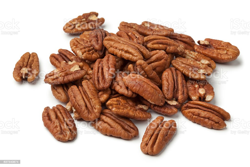 Heap of shelled pecan nuts stock photo