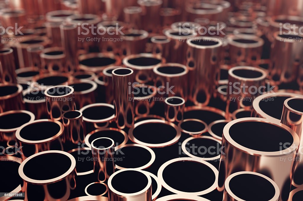 Heap of shiny copper pipes with selective focus effect. 3d stock photo
