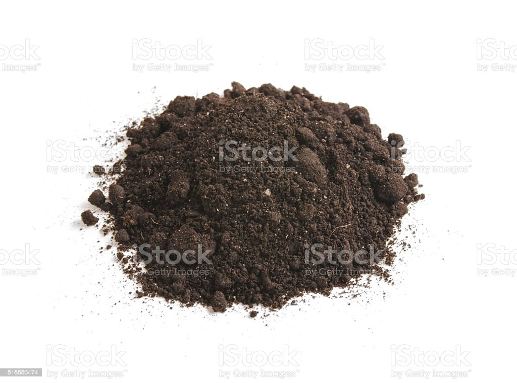 Heap of soil humus, isolated on a white background. Pile stock photo