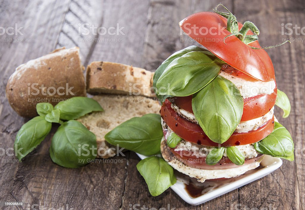 Heap of Tomato and Mozzarella slices royalty-free stock photo