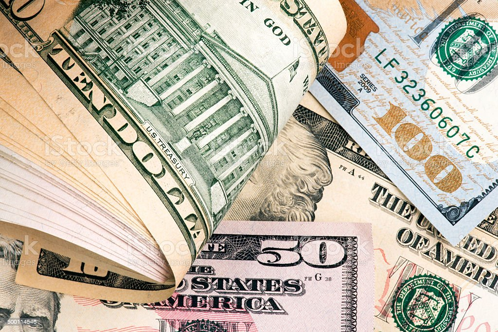 Heap of US Dollars stock photo