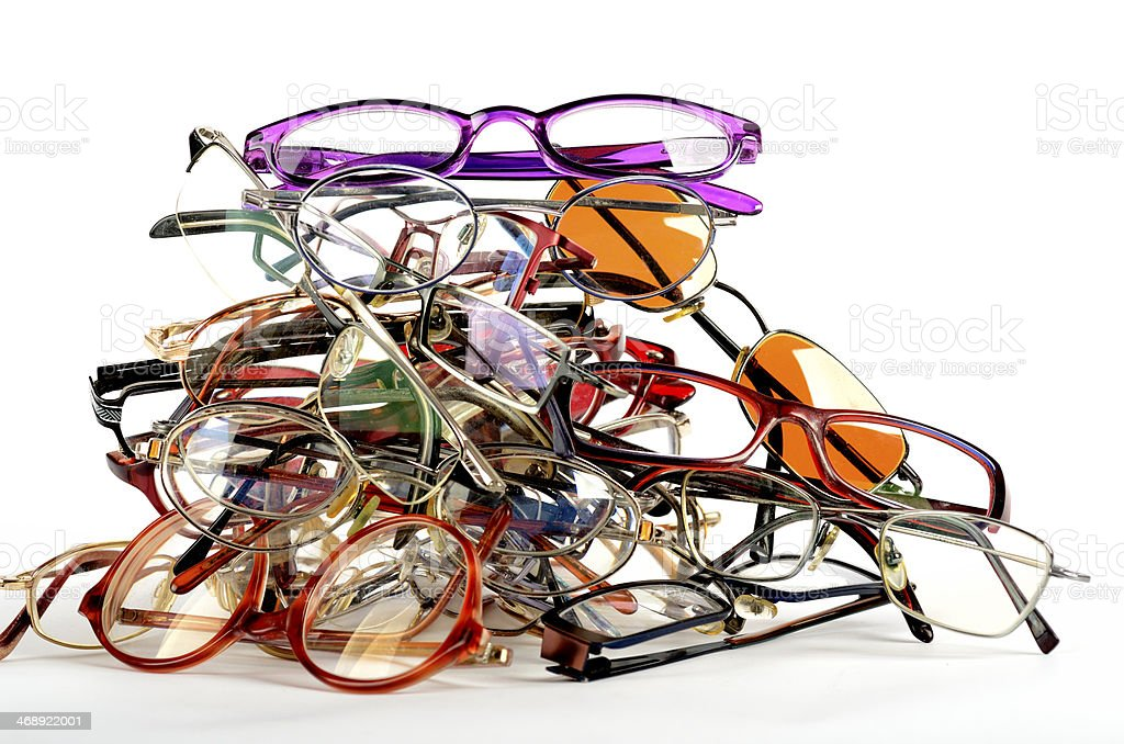 Heap of used spectacles stock photo