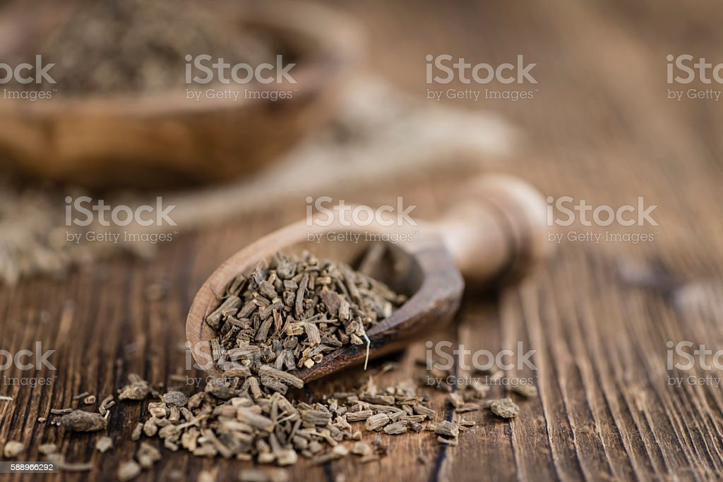 Heap of valerian roots (close-up shot) stock photo
