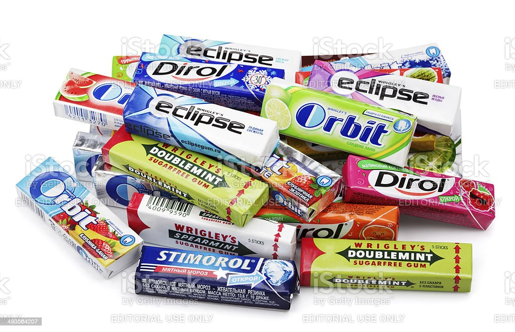 Heap of various brand chewing or bubble gum stock photo