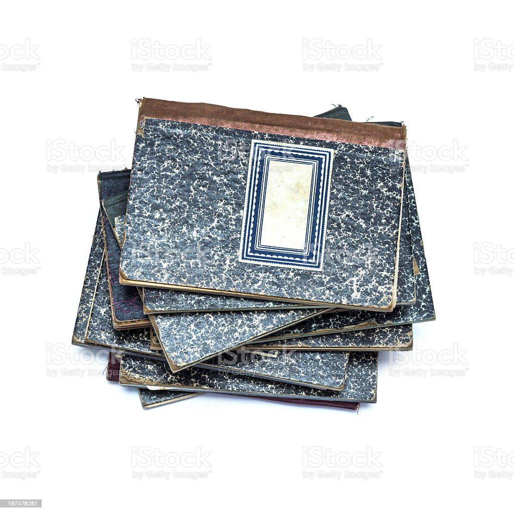 Heap of vintage used notebooks royalty-free stock photo
