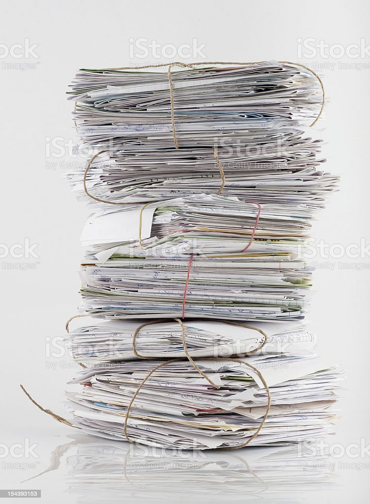 Heap of white letters stock photo