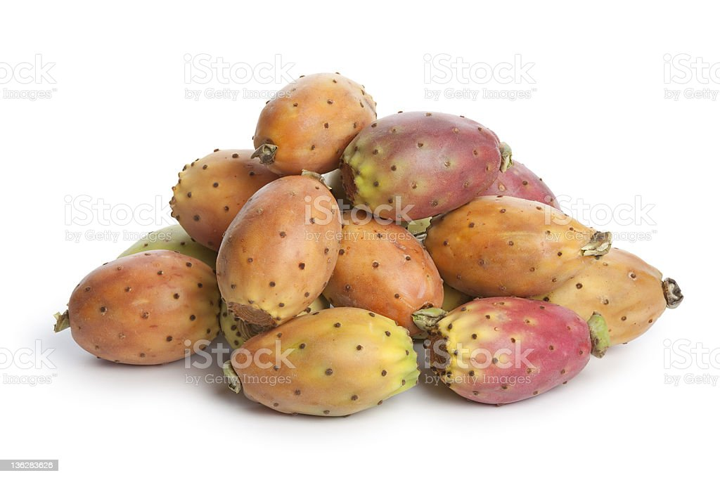 Heap of whole prickly pears stock photo