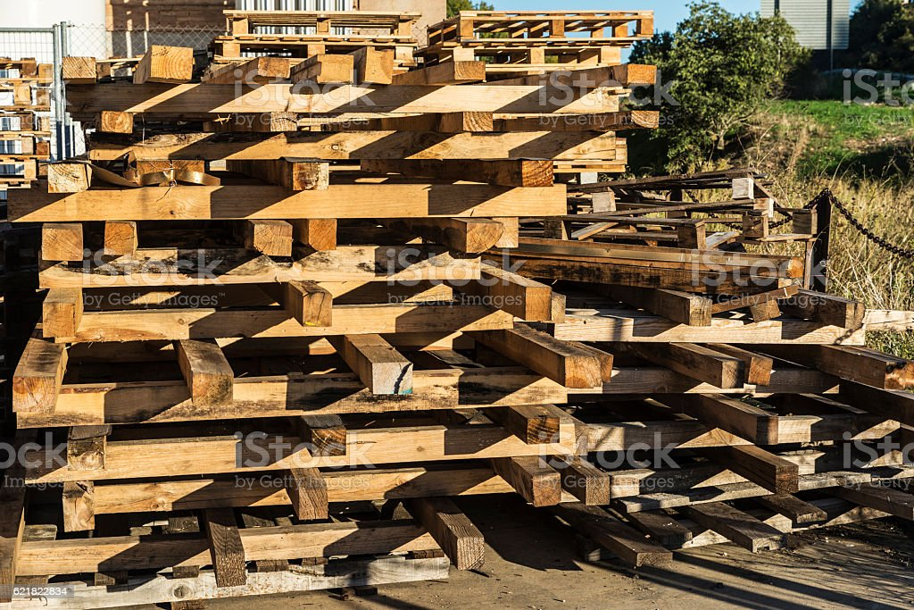 Heap of wooden pallet stock photo