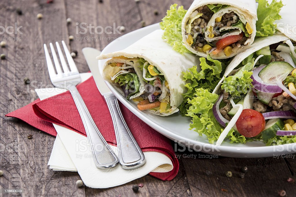 Heap of Wraps on a plate royalty-free stock photo