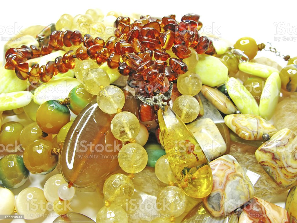 heap of yellow semigem beads royalty-free stock photo