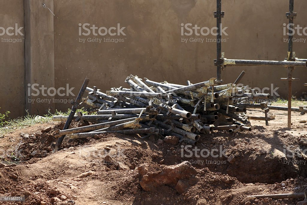 Heap Scaffolding Iron Pipes royalty-free stock photo