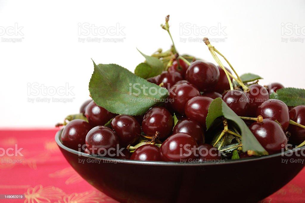 Heaping Bowl of Cherries stock photo