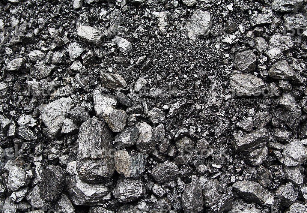 Heaps of mined coal on the surface. Backgrounds and textures stock photo