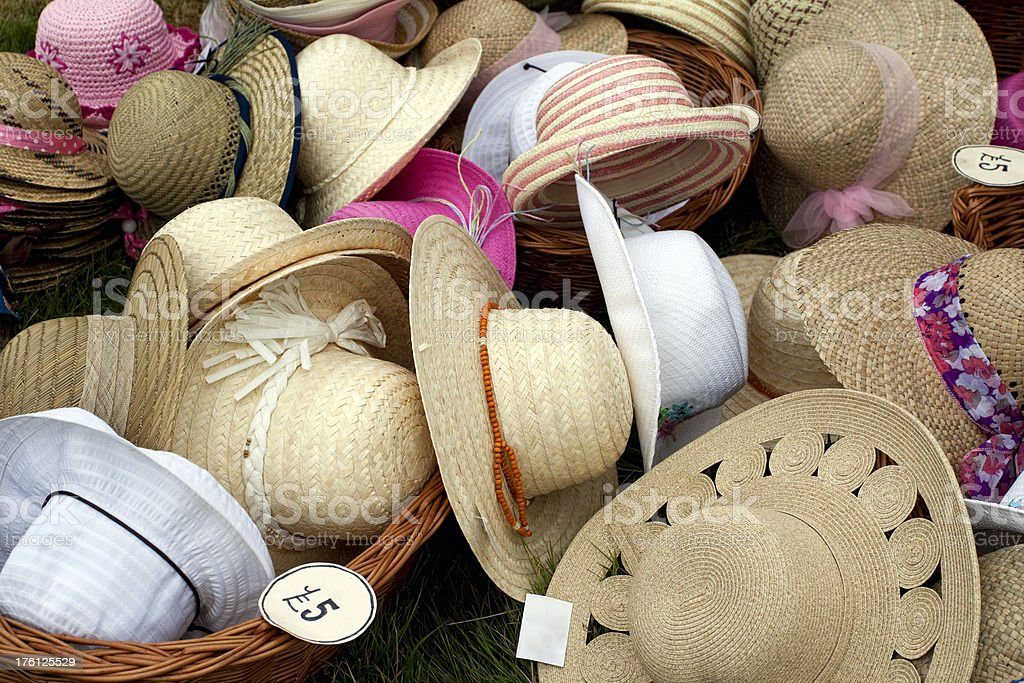Heaps of straw hats royalty-free stock photo