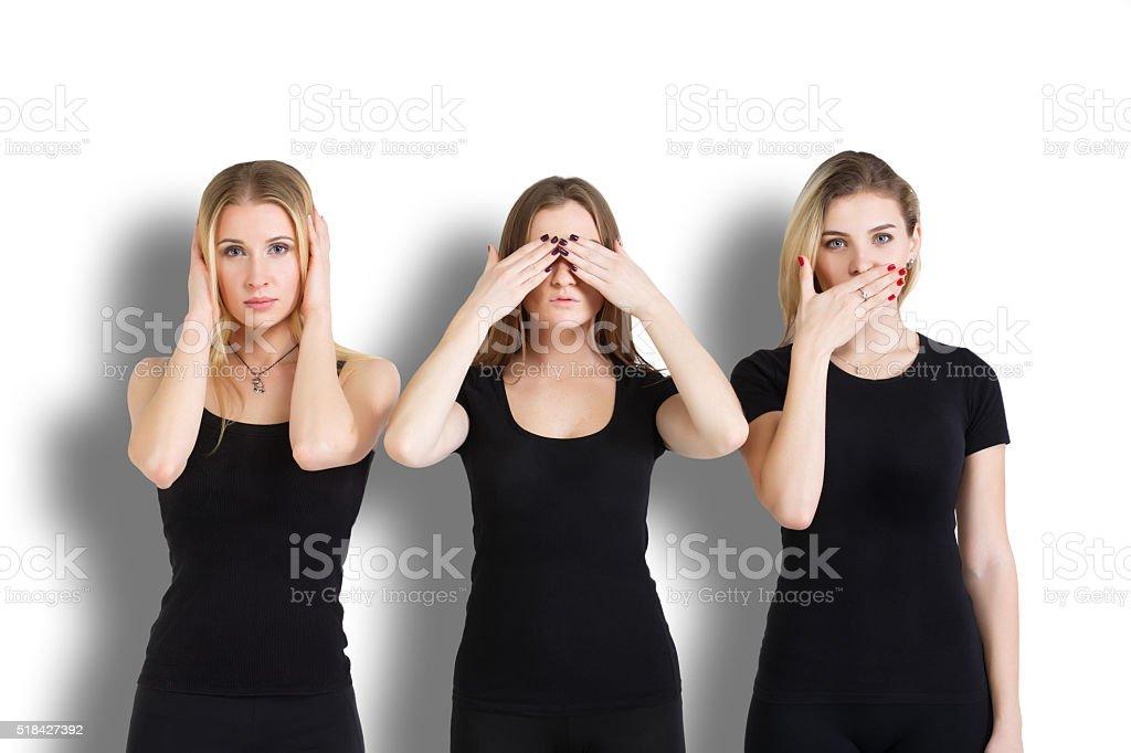 Hear no evil, see no evil, speak no evil stock photo