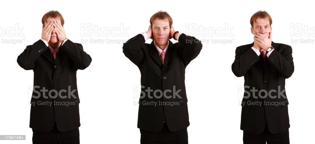 hear, speak, see no evil royalty-free stock photo