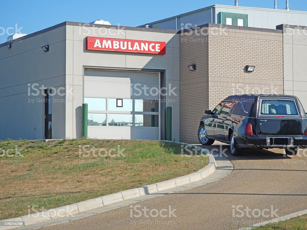 Hearse at Hospital to collect deceased patient, or corpse stock photo
