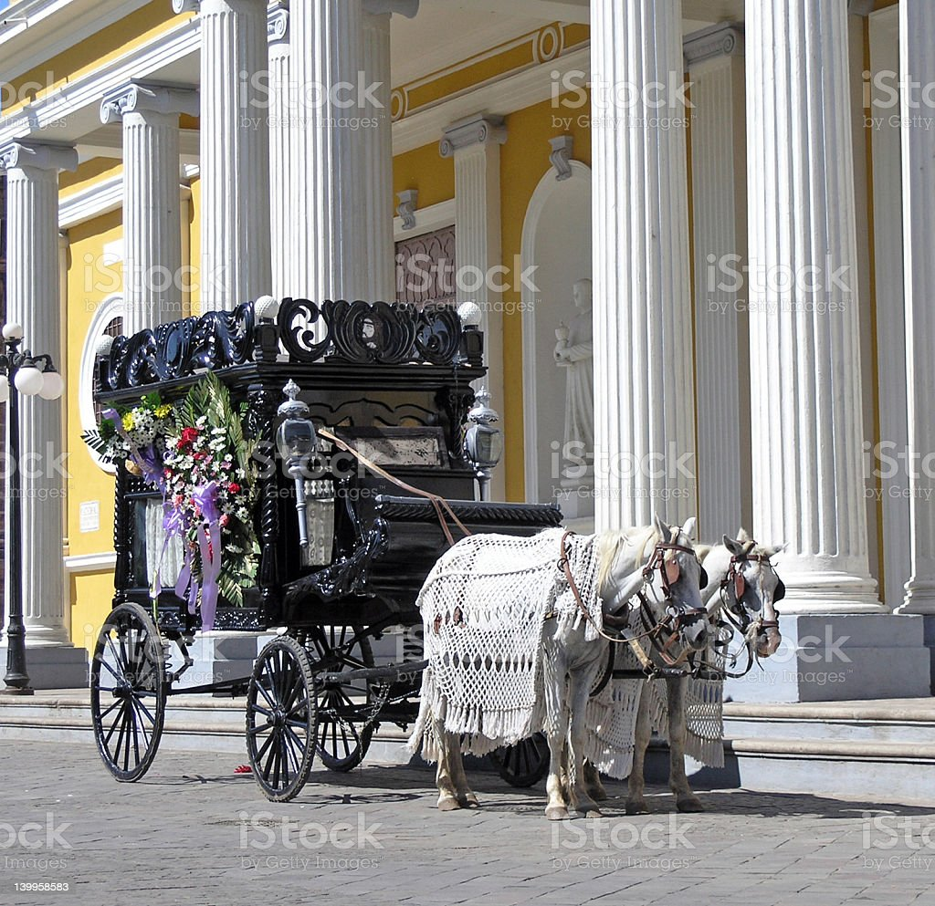 Hearse carriage drawn by two white horses by ornate columns stock photo