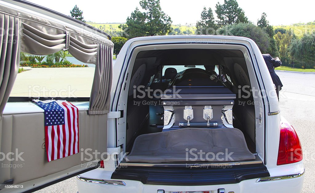Hearse with coffin stock photo