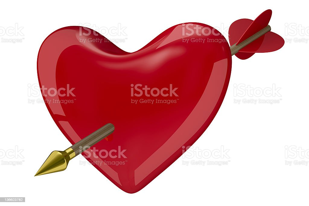 heart and arrow on white background. Isolated 3D image royalty-free stock photo