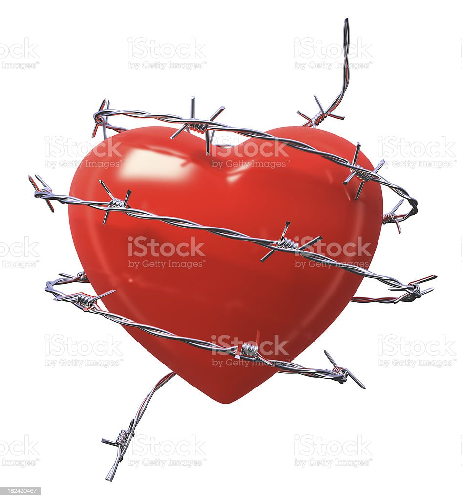 Heart and Barbed Wire stock photo