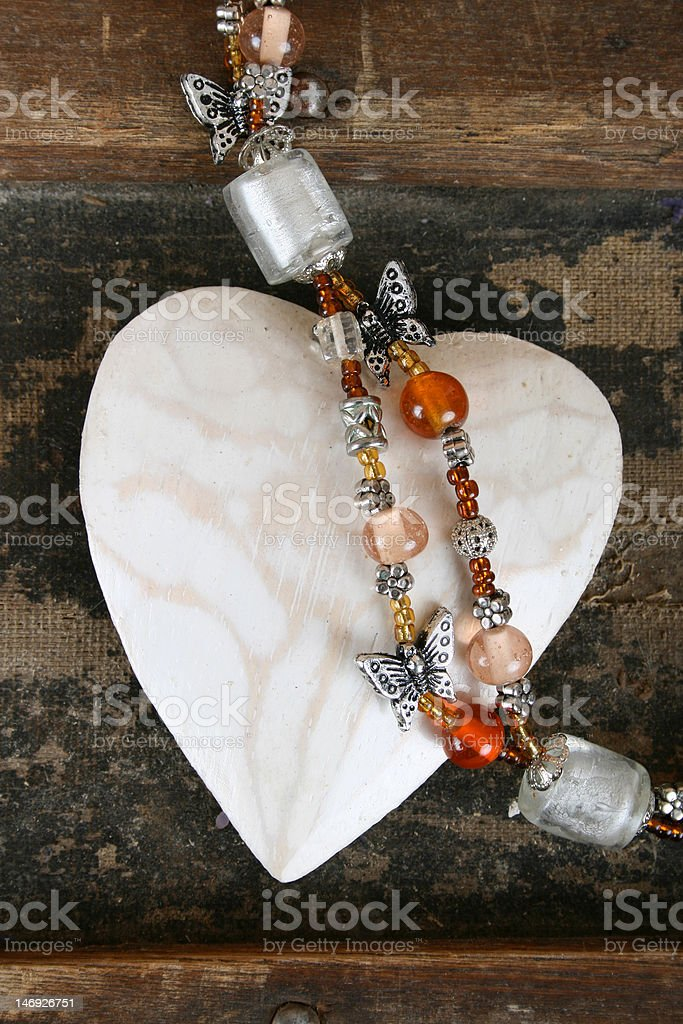 Heart and beads royalty-free stock photo