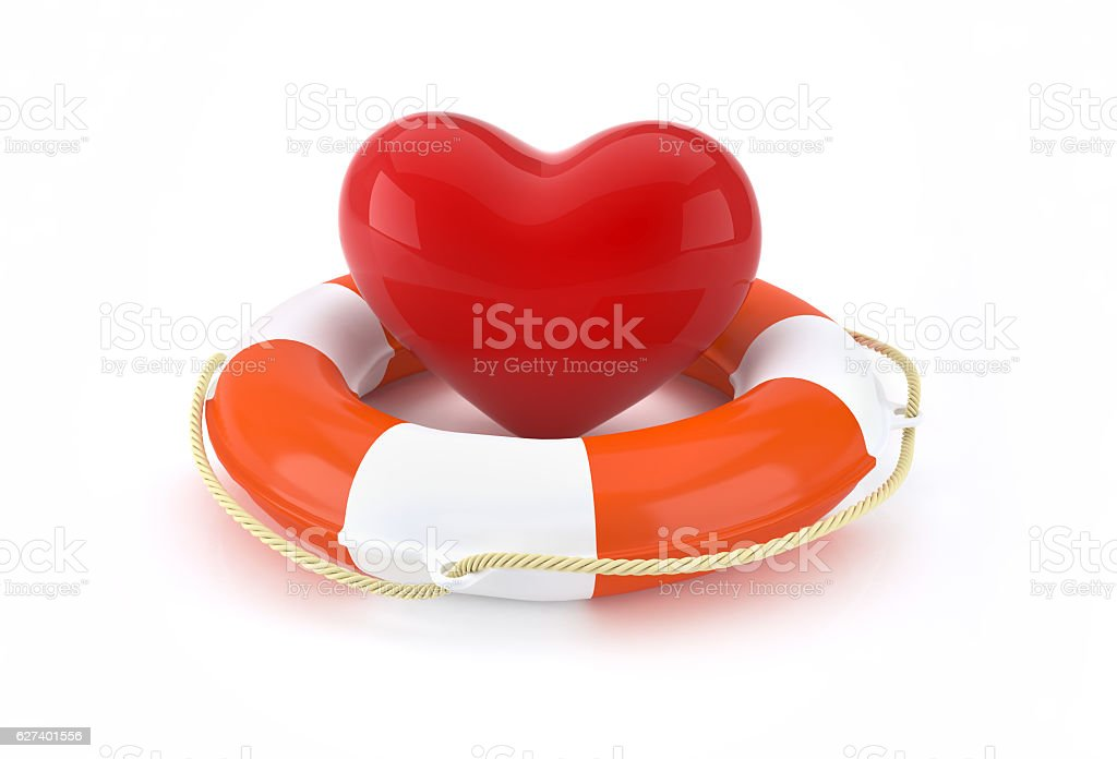 Heart and lifebuoy with life saving concept. stock photo