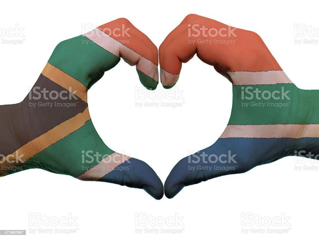 Heart and love gesture in south africa flag colors stock photo
